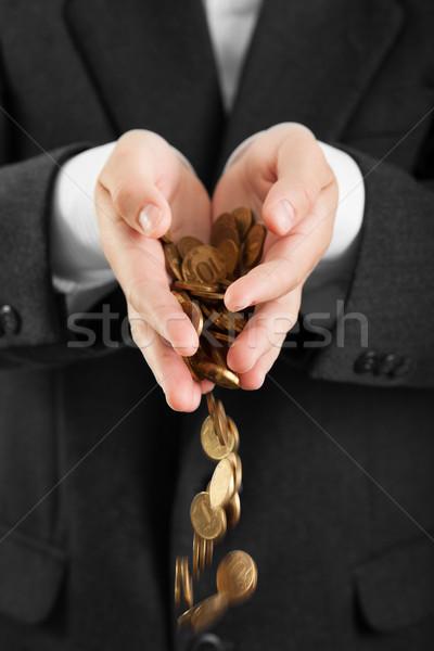 érmék kezek üzletemberek tart pénzügy valuta Stock fotó © ia_64