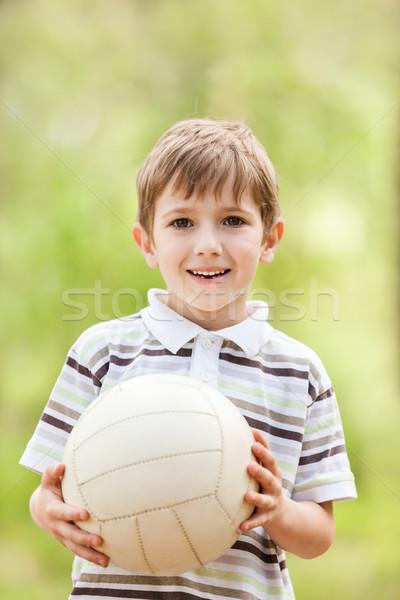 ребенка футбольным мячом мало улыбаясь мальчика играет Сток-фото © ia_64