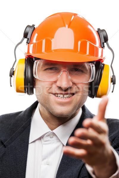 Empresario seguridad casco de seguridad casco mano Foto stock © ia_64