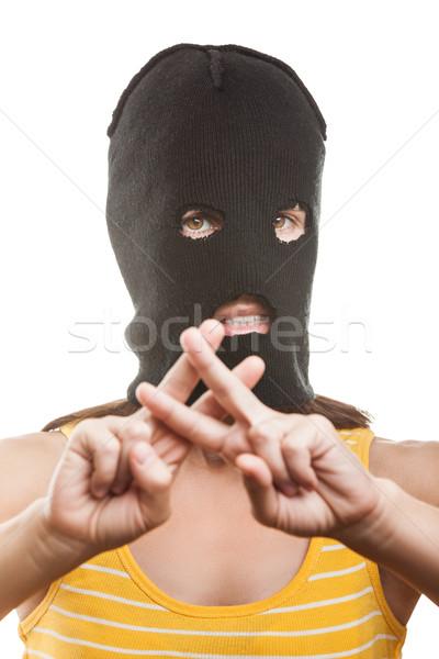 Mujer cárcel prisión dedo gesto Foto stock © ia_64