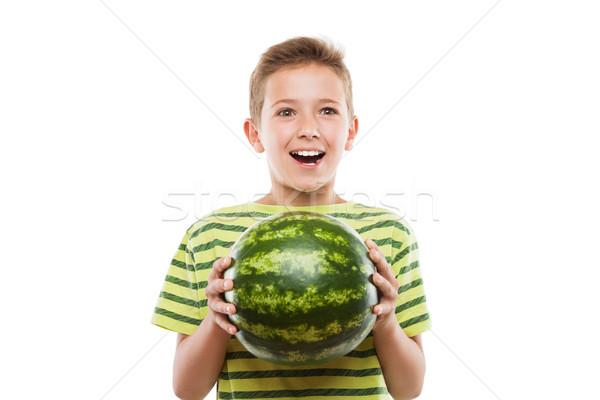 Yakışıklı gülen çocuk erkek yeşil Stok fotoğraf © ia_64