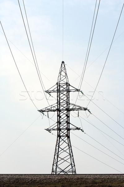 Eletricidade torre blue sky poder linha cabo Foto stock © ia_64
