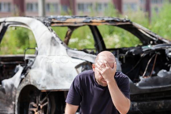 Ağlayan üzgün adam yangın araba araç Stok fotoğraf © ia_64