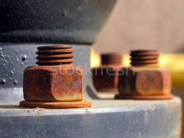 Old rusty metal nut on iron water valve Stock photo © ia_64