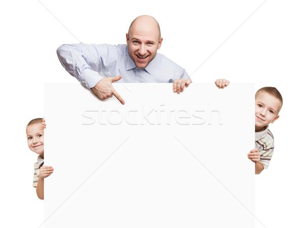 Foto stock: Padre · cartel · sonriendo · pequeño