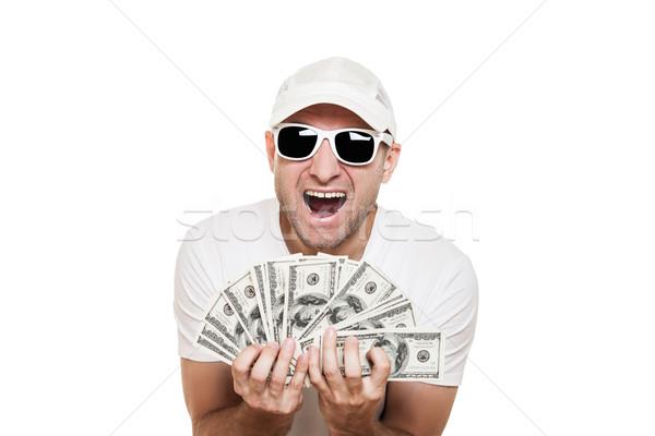 Férfi tart dollár valuta kezek hideg Stock fotó © ia_64
