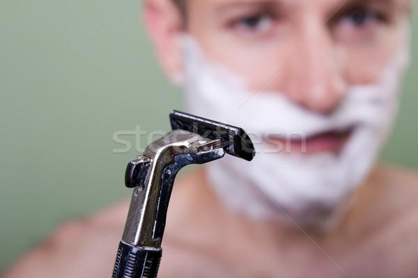Szépség férfiak borotva penge vág haj Stock fotó © ia_64