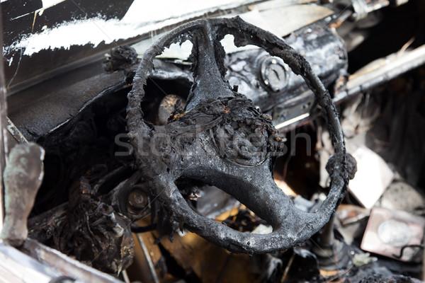 Tűz autó jármű roncs baleset kerék Stock fotó © ia_64