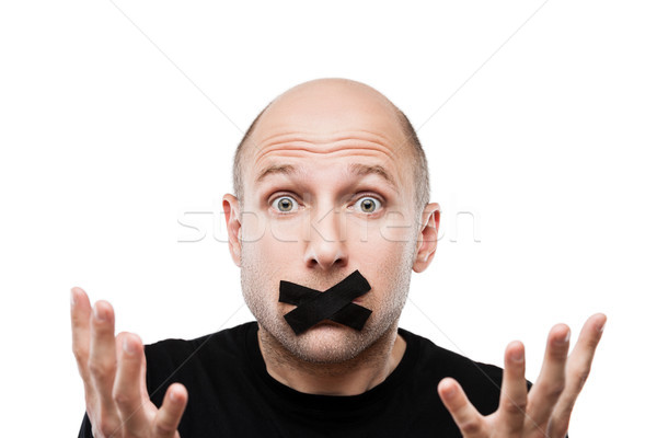 Scared adult man adhesive tape closed mouth Stock photo © ia_64