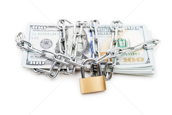 Chain link with padlock on dollar currency money Stock photo © ia_64