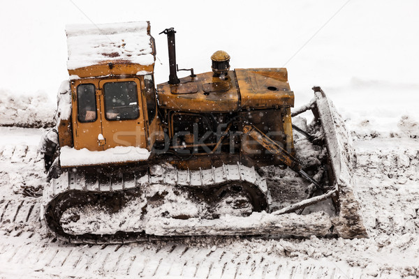 Bulldozer at building construction site Stock photo © ia_64