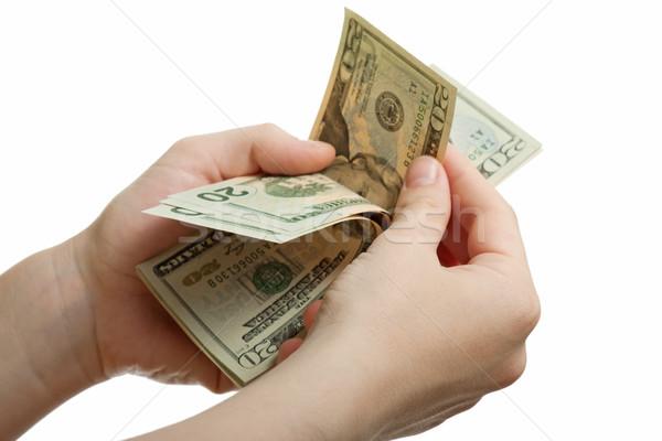Dólar moeda mão financiar riqueza mão humana Foto stock © ia_64