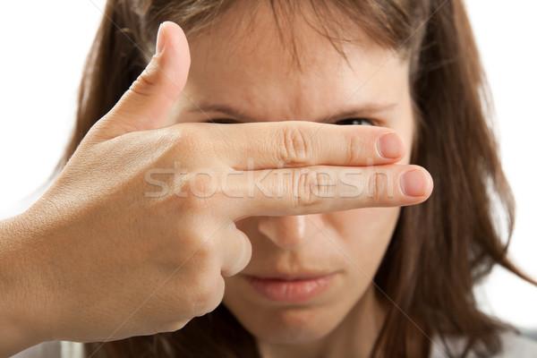 стороны сокрытие лице взрослый женщины Сток-фото © ia_64