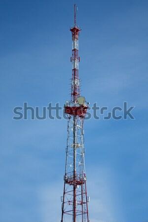 Antenna torre comunicazioni televisione tecnologia blu Foto d'archivio © ia_64