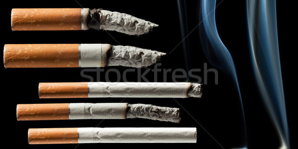 Dohányzás cigaretta függőség fekete izolált papír Stock fotó © ia_64