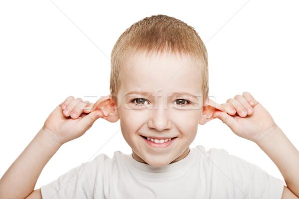 Dziecko słuchania uśmiechnięty ludzi strony głuchy Zdjęcia stock © ia_64