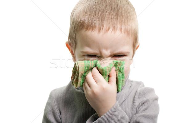 сморкании человека ребенка холодно грипп болезнь Сток-фото © ia_64