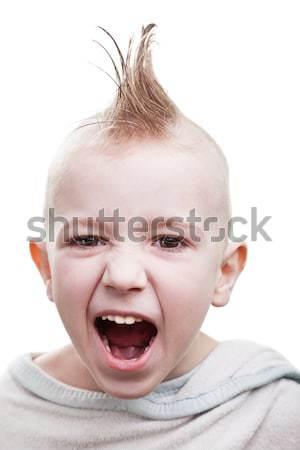 Punk cabelo criança arreganhar pequeno alegre Foto stock © ia_64