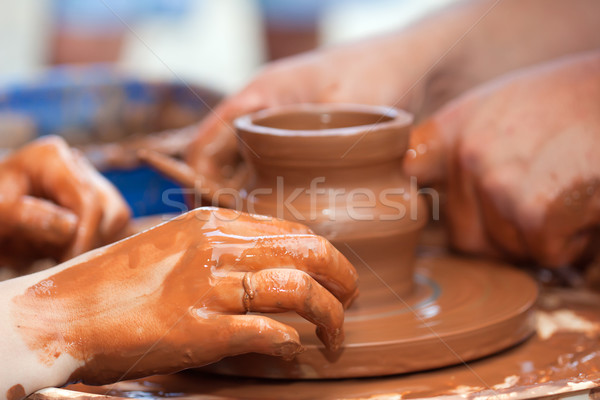 Clay potter hand Stock photo © ia_64