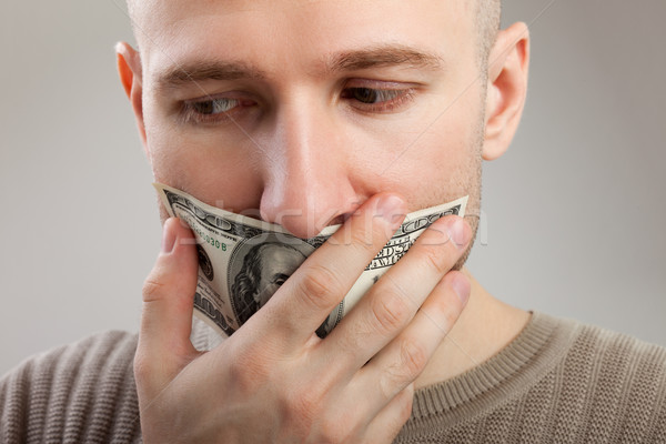 Dollar money gag shut voiceless men Stock photo © ia_64