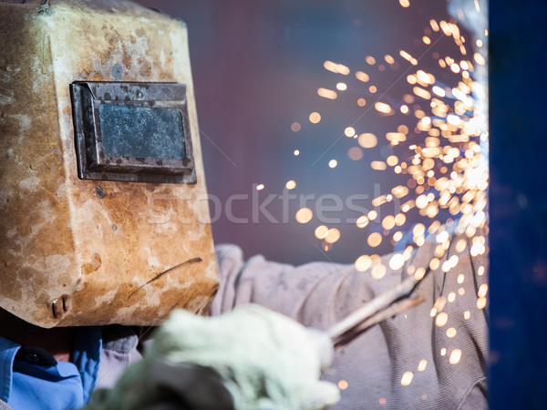 ív hegesztő munkás maszk hegesztés fém Stock fotó © ia_64