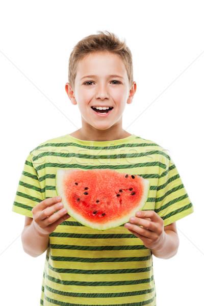 Jóképű mosolyog gyermek fiú tart piros Stock fotó © ia_64