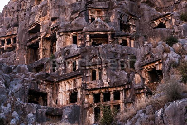 Oude rock graf Turkije ruines gebouw Stockfoto © ia_64