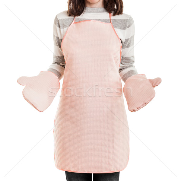 Kitchen working housewife wearing food cooking apron and oven mi Stock photo © ia_64