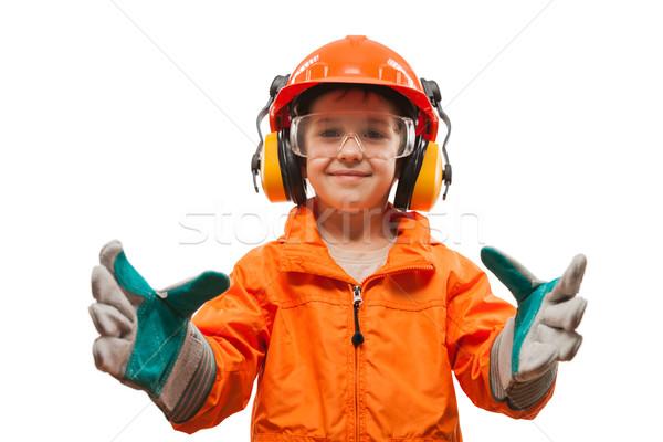 笑みを浮かべて 子 少年 エンジニア マニュアル ストックフォト © ia_64
