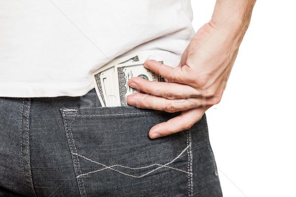 Dollaro valuta jeans tasca mano umana Foto d'archivio © ia_64