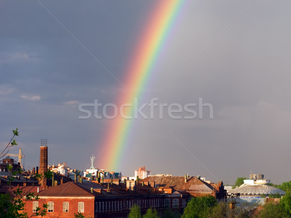 Rainbow multi color image in blue sky rain nature Stock photo © ia_64