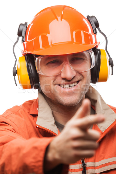 Engenheiro manual trabalhador homem segurança capacete de segurança Foto stock © ia_64