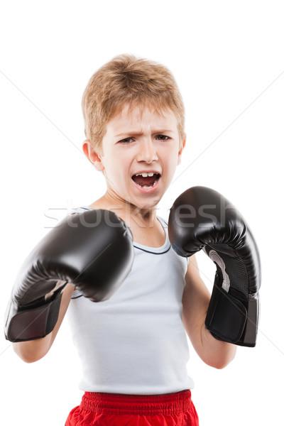 Mosolyog boxoló gyermek fiú képzés box Stock fotó © ia_64