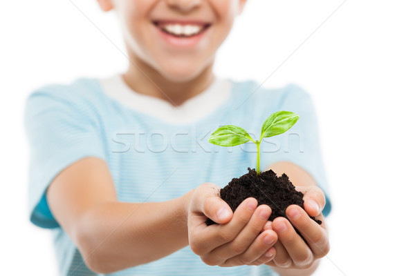 Handsome smiling child boy holding soil growing green sprout leaf Stock photo © ia_64