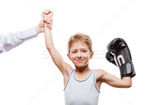 Photo stock: Souriant · boxe · champion · enfant · garçon