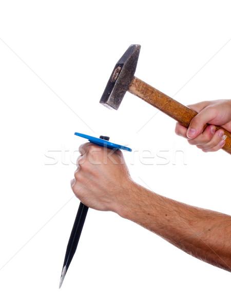 Ciseler marteau main main humaine travail outil Photo stock © ia_64
