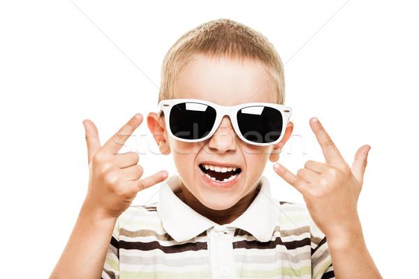 Sorridente criança beleza menino óculos de sol Foto stock © ia_64