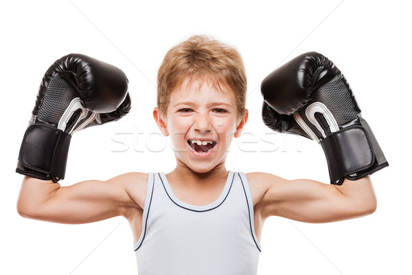 Smiling boxing champion child boy gesturing for victory triumph Stock photo © ia_64