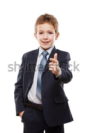 Glimlachend kind jongen business pak wijsvinger Stockfoto © ia_64