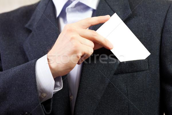 Boş kart işadamları el iş adamı beyaz Stok fotoğraf © ia_64