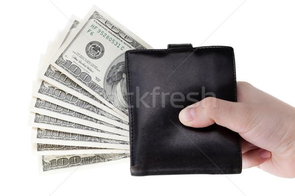 Dollar valuta portemonnee hand menselijke hand Stockfoto © ia_64