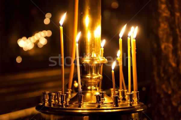 Templom gyertya fény égő viasz láng Stock fotó © ia_64
