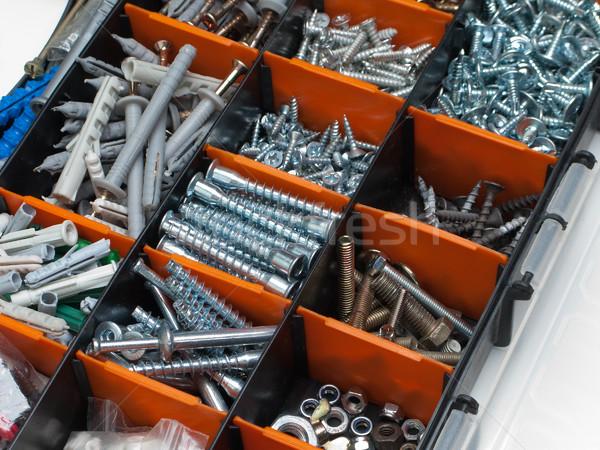Toolbox vak metaal bout moer schroef Stockfoto © ia_64