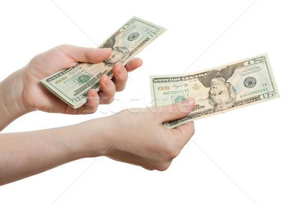 доллара валюта стороны Финансы богатство человеческая рука Сток-фото © ia_64