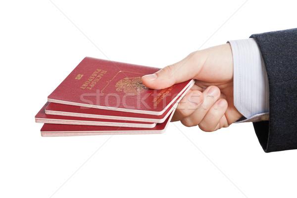 Stock fotó: útlevél · személyi · igazolvány · irat · kéz · üzletember · tart