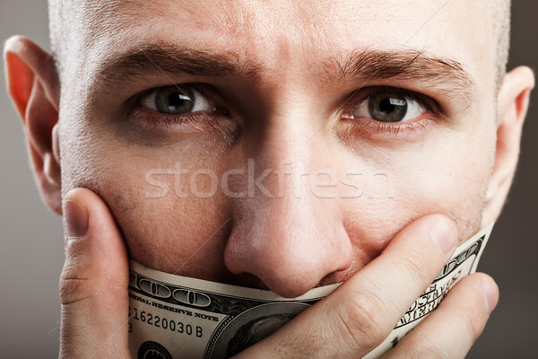 Dollar money gag shut voiceless man Stock photo © ia_64