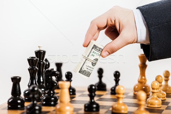 Business man unfair playing chess game Stock photo © ia_64
