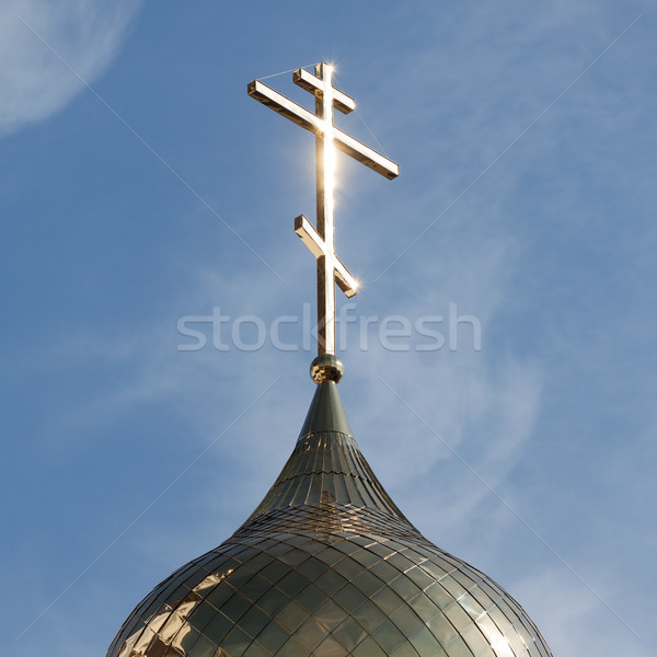 Religion cross on church dome Stock photo © ia_64