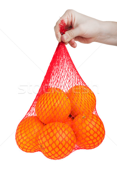 Orange Früchte Hand halten gesunde Ernährung Essen Tasche Stock foto © ia_64