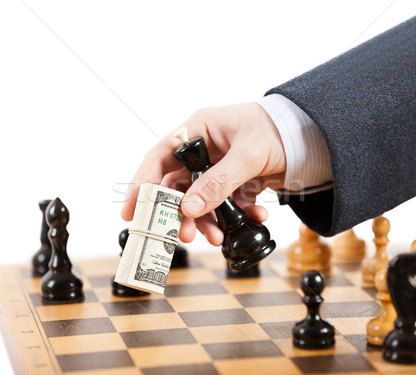 Businessman unfair playing chess game Stock photo © ia_64